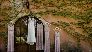 david-bastianoni-sony-alpha-9-bride-and-bridesmaid-dresses-hang-on-a-wall-covered-with-ivy