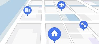 Χάρτης δρόμου σε προβολή δορυφόρου που δείχνει σημεία ενδιαφέροντος