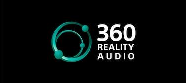 Λογότυπο 360 Reality Audio σε μαύρο φόντο