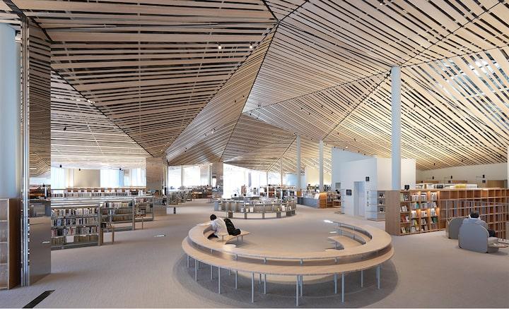 Εικόνα εσωτερικού χώρου μιας μεγάλης βιβλιοθήκης με περίπλοκο ντιζάιν και με πολλές ξύλινες τάβλες στην οροφή, με ανάλυση σε όλο το εύρος της εικόνας.